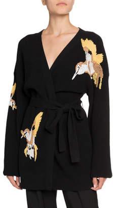 Altuzarra Jareth Wool-Cashmere Bird-Embroidered Cardigan