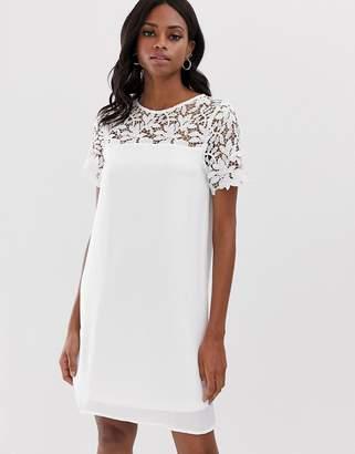 Vila lace yoke shift mini dress