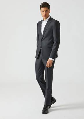 Emporio Armani Single-Breasted Slim Fit Woven Wool And Silk Blend Suit