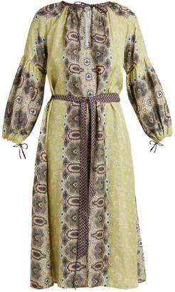 D'ASCOLI Misha floral-print balloon-sleeve silk dress