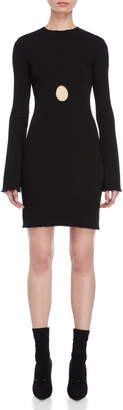 Ellery Cutout Bell Sleeve Ribbed Bodycon Dress