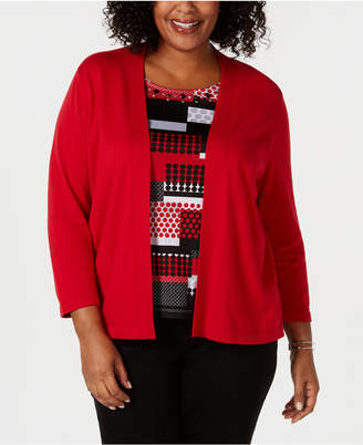 Alfred Dunner Plus Size Sutton Place 3/4-Sleeve Layered Look Sweater