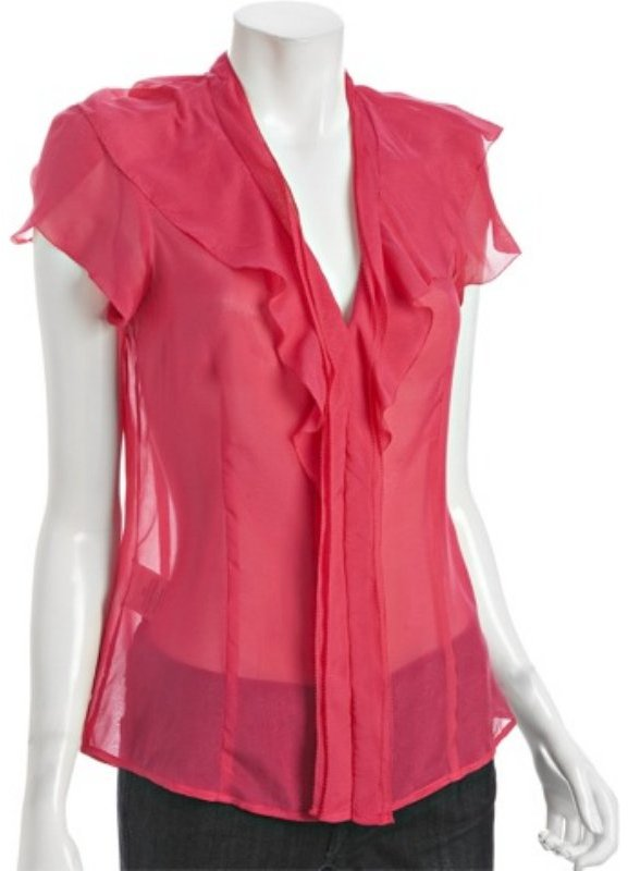 BCBGMAXAZRIA azalea tonal stripe silk crepe ruffle blouse