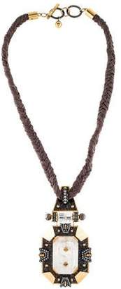 Lanvin Quartz, Crystal, & Chiffon Necklace