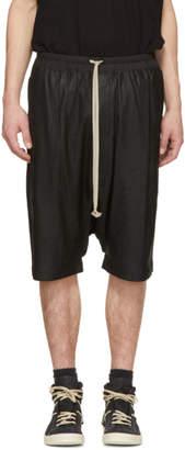 Rick Owens Black Leather Ricks Pods Shorts