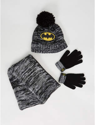 Batman George DC Comics Bobble Hat Scarf and Gloves Set