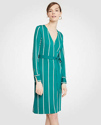 Ann Taylor Striped Button Cuff Wrap Dress