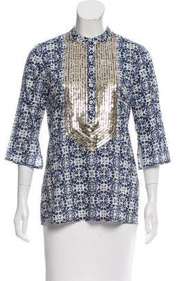 Figue Printed Sequin-Embellished Top w/ Tags