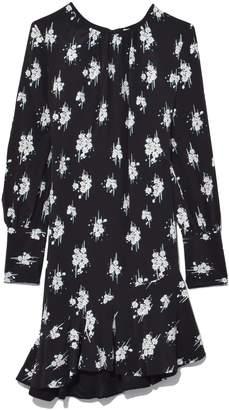 Derek Lam 10 Crosby Asymmetrical Ruffle Hem Dress in Black