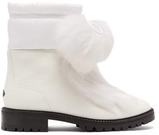 Jimmy Choo Glacie Pompom Shearling Trimmed Leather Boots - Womens - White