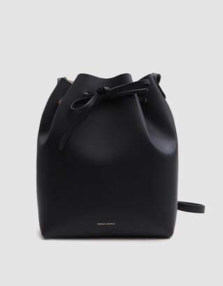 Mansur Gavriel Vegetable Tanned Bucket Bag in Black/Ballerina