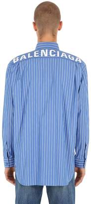 Balenciaga Logo Printed Striped Cotton Shirt