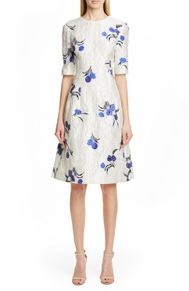Lela Rose Holly Floral Jacquard Fit & Flare Dress