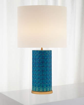 AERIN Eliot Blue Wave Table Lamp with Linen Shade