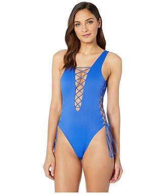 4ec68b0a08b Luli Fama Orillas Del Mar Ribbed Interlaced Open Side One-Piece Bodysuit