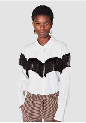 Derek Lam 10 Crosby Long Sleeve Button-Down Shirt With Fringe