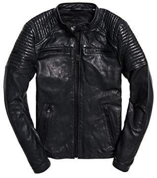 Superdry Men's LEATHERQUILTRACER Bomber Jacket