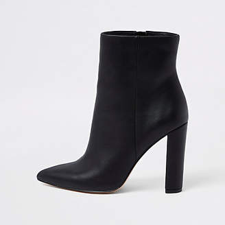 River Island Black pointed toe block heel boots