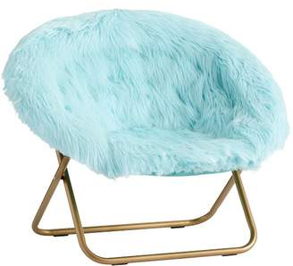 Pottery Barn Teen Hang-A-Round Chair, Himalayan Plume Faux-Fur w/ Gold Base
