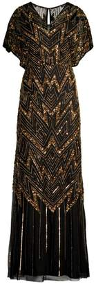 Aidan Mattox Embellished V-Neck Gown