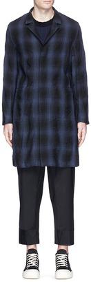 Check plaid linen-cotton hopsack coat