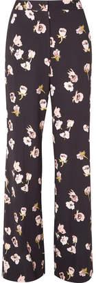 Lela Rose Maggie Floral-print Crepe Wide-leg Pants - Black