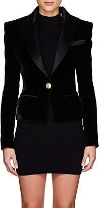 Balmain Women's Velvet & Satin Single-Button Blazer