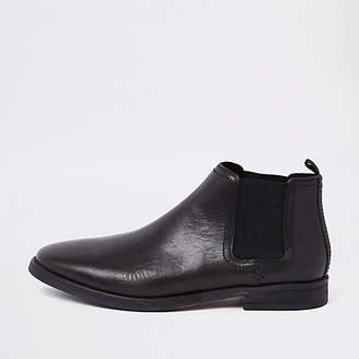 River Island Black leather pointed toe chelsea boots