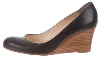Christian Louboutin Leather Round-Toe Wedges