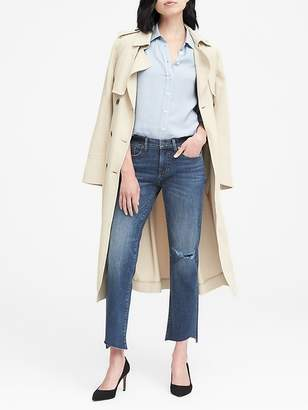 Banana Republic Girlfriend Medium Wash Jean with Asymmetrical Fray Hem