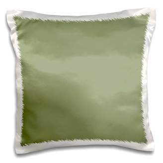 3dRose Moss Green - greenish grey gray - muddy plain simple one single solid color - brown-green sage - Pillow Case, 16 by 16-inch