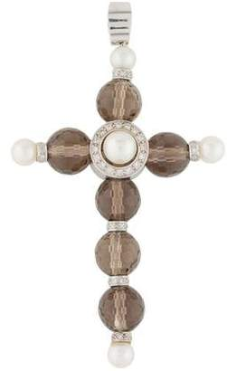 18K Pearl, Smoky Quartz & Diamond Cross Pendant