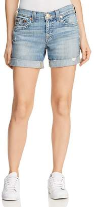 True Religion Jayde Mid Rise Rolled Denim Shorts in Bright Skyfall