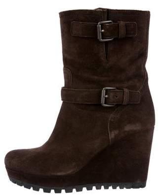 Prada Sport Suede Wedge Boots