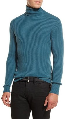 TOM FORD Ribbed Turtleneck Sweater, Slate Blue $1,320 thestylecure.com