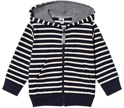 Navy And White Striped Hoodie