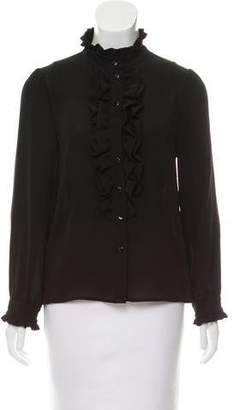 Claudie Pierlot Ruffle-Trimmed Button-Up Top