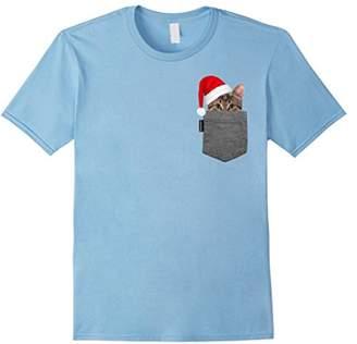 Kitty in Your Pocket Tshirt Cat Shirt Santa Hat
