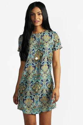 boohoo Paisley Print Short Sleeve Shift Dress