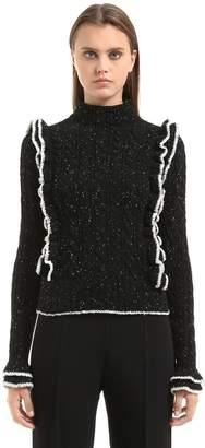 Philosophy di Lorenzo Serafini Ruffled Tweed Yarn Cable Knit Sweater
