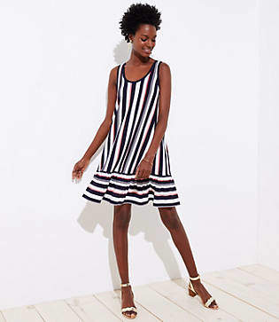 LOFT Petite Striped Flounce Sleeveless Swing Dress