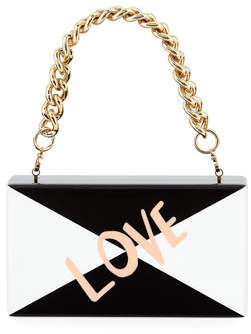 Edie Parker Jean Love Acrylic Clutch Bag with Handle