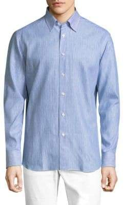Brioni Regular-Fit Stripe Cotton Button-Down Shirt