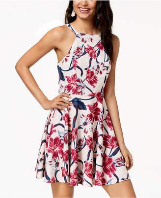 City Studios Juniors' Floral Scuba Crepe Fit & Flare Dress