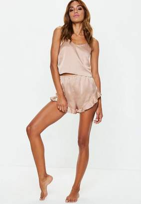 Missguided Petite Mink Satin Cami Frill Short Pyjama Set 28d950729