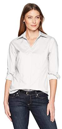 Lee Indigo Women's Plus Size Long Sleeve Button Front Easy Care Woven Shirt