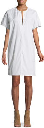 Vince Split-Neck Cotton Poplin Popover Dress