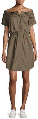 Theory Laela Stretch-Cotton Off-the-Shoulder Shirtdress, Green $325 thestylecure.com