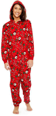 Asstd National Brand Fleece Onesie One Piece Pajama Red Holiday Print- Women's