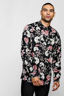 boohoo Long Sleeve Floral Print Shirt